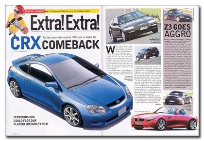 Слух о Honda CRX в журнале motor magazine