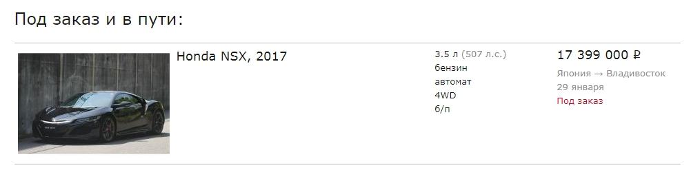 Honda NSX Price
